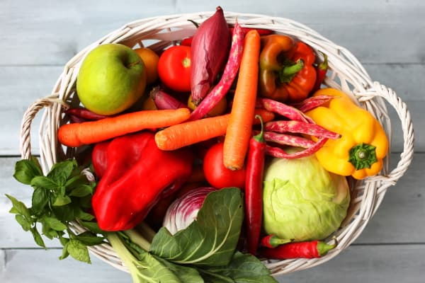 Breastfeeding diet. A basket of colourful vegetables